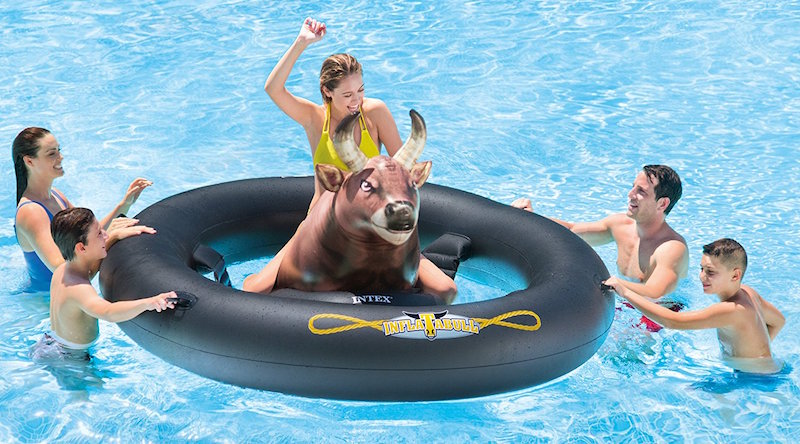 Intex Inflat A Bull Ride bull in the pool