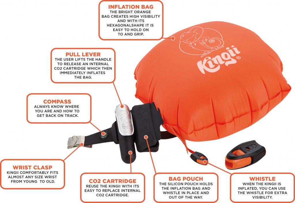 Kingii armband inflatable lifesaving buoy bracelet