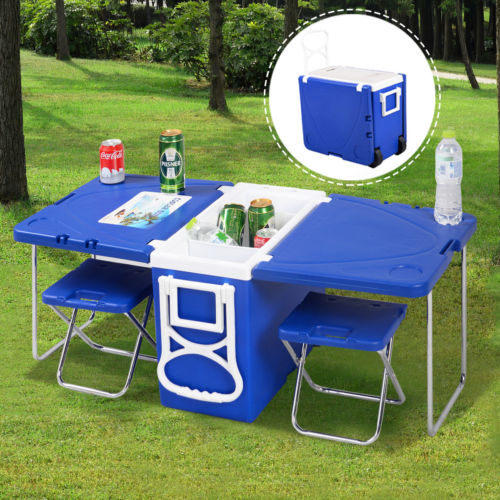 Multi Function Rolling Cooler Picnic Camping Outdoor with Table and 2 Chairs
